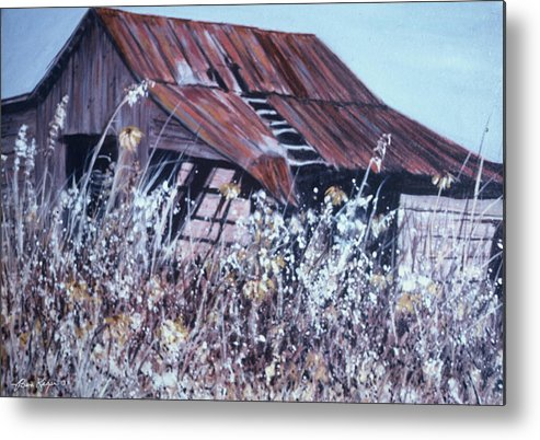 Rustic Metal Print featuring the painting Barn in Sunlight by Ben Kiger