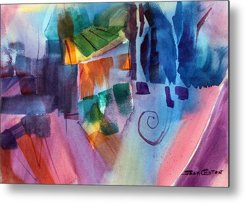Abstract Watercolor Metal Print featuring the painting Huh. by Josh Chilton