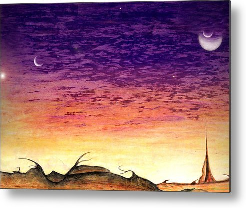 Jovian Metal Print featuring the drawing Landscrape by Nathaniel Hoffman