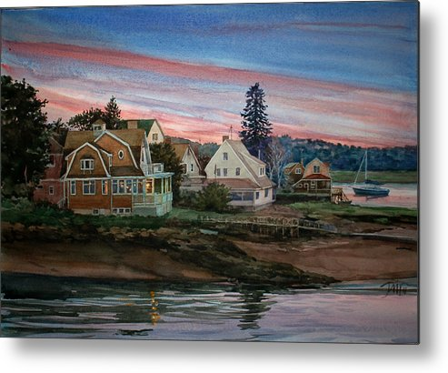 Peter Sit Watercolor Metal Print featuring the painting Annisquam River by Peter Sit