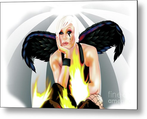 Burn Metal Print featuring the drawing Burning Angel by Brian Gibbs