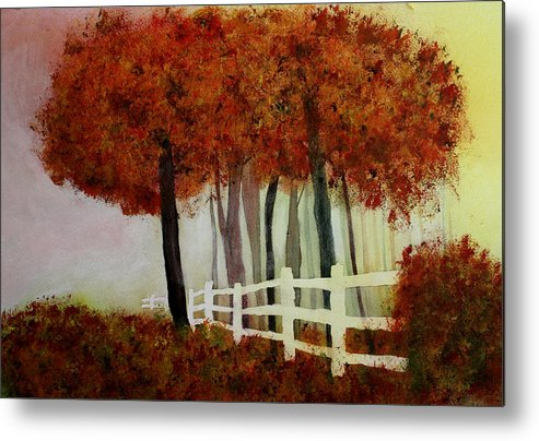 Trees Metal Print featuring the painting Colors of Autumn by Mary Gaines