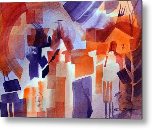 Abstract Watercolor Metal Print featuring the painting Crazy Day. by Josh Chilton
