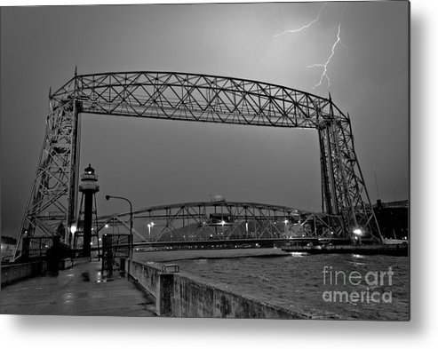 Lift Bridge Metal Print featuring the photograph Duluth Lift Bridge Under Lightning by Ever-Curious Photography