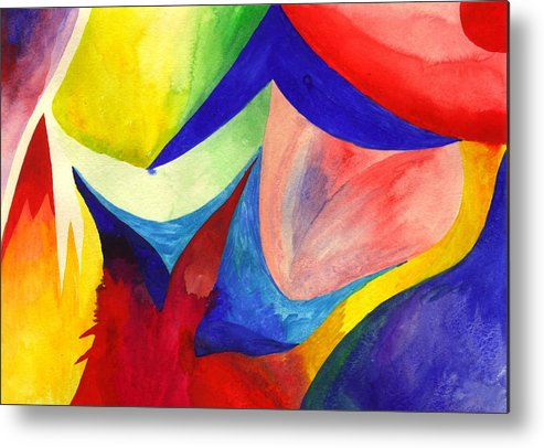 Watercolor Metal Print featuring the painting Exploring by Peter Shor
