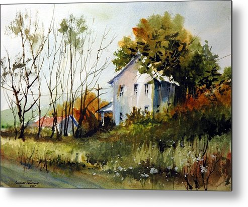 Plein Air Metal Print featuring the painting Farmhouse at Glacier Ridge by Charles Rowland