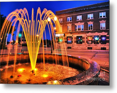 Menasha Metal Print featuring the photograph Menasha Lighted Fountain by Ever-Curious Photography