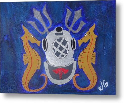 United States Navy Diver Symbol Metal Print featuring the painting Navy Diver by Jessica Cruz