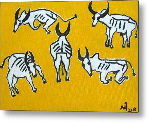 Indian Bulls Metal Print featuring the painting No.373 by Vijayan Kannampilly