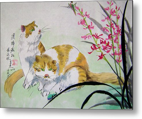 Animals Metal Print featuring the painting Spring fever by Lian Zhen