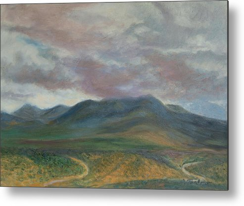 Landscape Metal Print featuring the painting Storm Clouds Over the Ortiz Mountains by Phyllis Tarlow