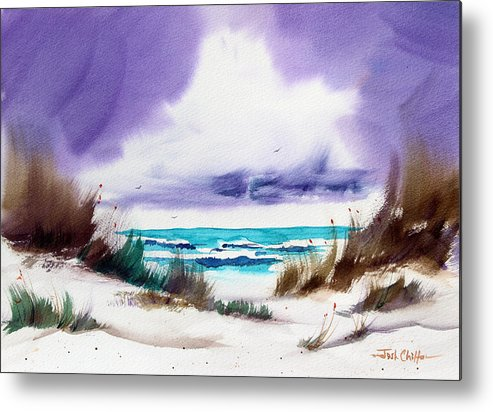 Beach Landscape Metal Print featuring the painting Storm's Coming. by Josh Chilton