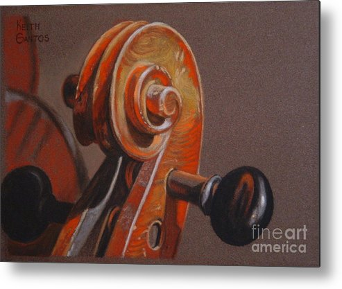 Violin Metal Print featuring the pastel The Scroll and Pegs by Keith Gantos