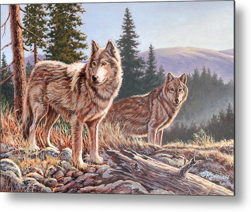 Wolf Metal Print featuring the painting Timber Ridge by Richard De Wolfe
