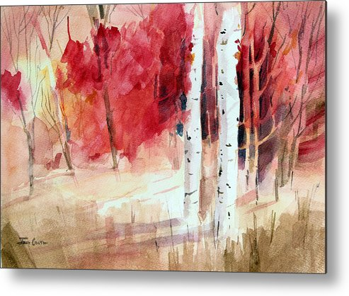 Autumn Landscape Metal Print featuring the painting Two Sticks. by Josh Chilton
