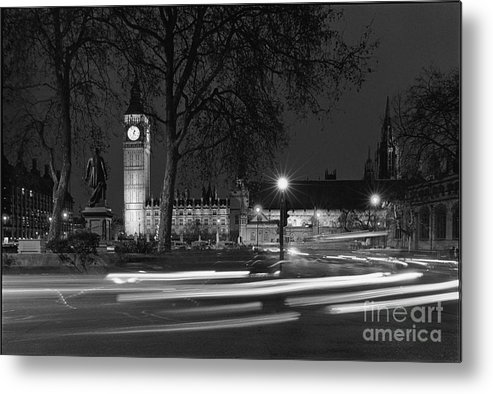 Westminster Palace Metal Print featuring the photograph Westminster Night Traffic by Aldo Cervato