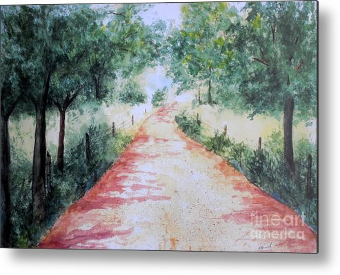 Country Road Metal Print featuring the painting A Country Road by Vicki Housel
