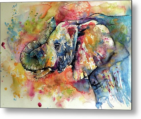 Elephant Metal Print featuring the painting Big colorful elephant by Kovacs Anna Brigitta