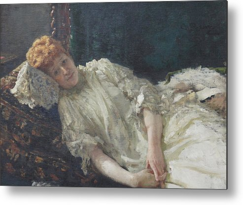 Ilya Repin Portrait Metal Print featuring the painting Portrait of the Pianist Louisa Mercy D'argenteau by Ilya Repin