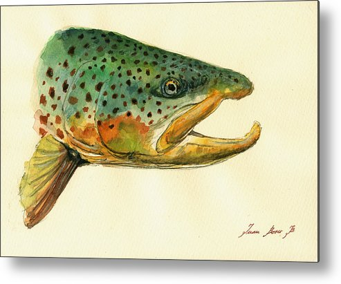 Trout Art Wall Metal Print featuring the painting Trout watercolor painting by Juan Bosco