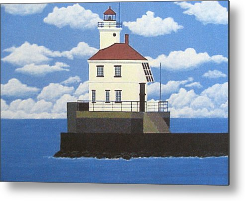 Wisconsin Point Lighthouse Painting Metal Print featuring the painting Wisconsin Point Lighthouse by Frederic Kohli