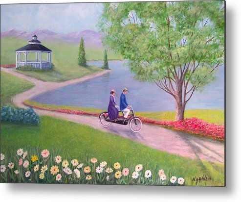 Landscape Metal Print featuring the painting A Ride In The Park by William H RaVell III