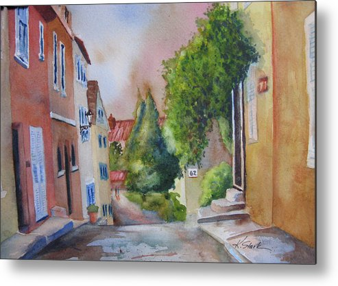 Cityscapes. Architecture Metal Print featuring the painting A Walk in the Village by Karen Stark