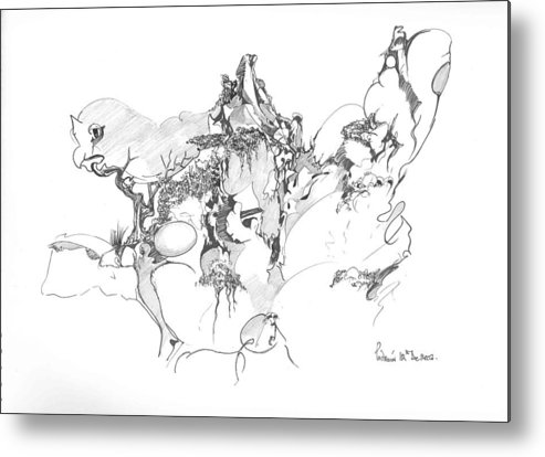 Abstract Metal Print featuring the drawing Abstract forms by Padamvir Singh