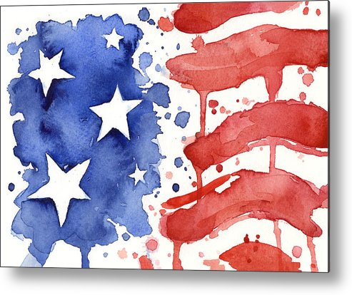 Red Metal Print featuring the painting American Flag Watercolor Painting by Olga Shvartsur