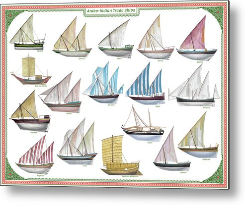 Boat Metal Print featuring the painting Arab and Indian trade ships by The Collectioner