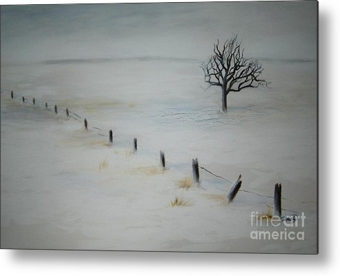 Landscape Metal Print featuring the painting Bare Tree by Vi Mosley