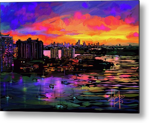 Biscayne Bay Metal Print featuring the painting Biscayne Bay, Miami by DC Langer