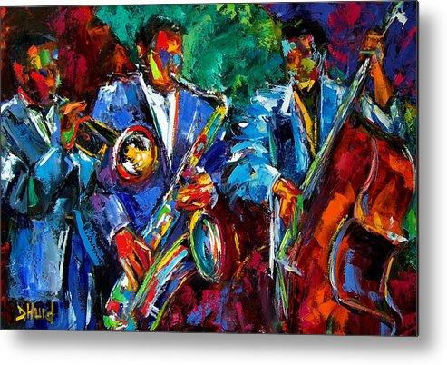 Jazz Art Metal Print featuring the painting Blue Jazz by Debra Hurd
