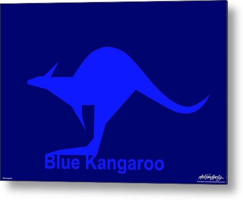 Metal Print featuring the digital art Blue Kangaroo by Asbjorn Lonvig