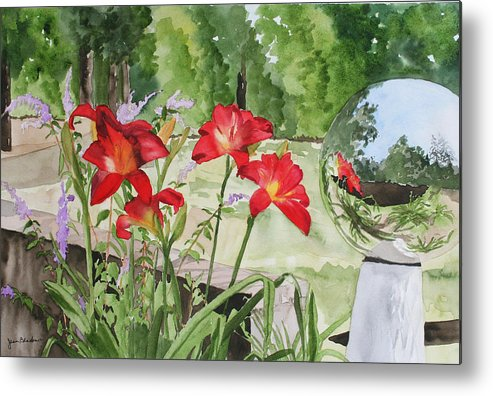 Flowers Metal Print featuring the painting Blue Sky Reflections by Jean Blackmer