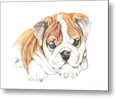 Brittish Metal Print featuring the painting British Bulldog Puppy by Morgan Fitzsimons