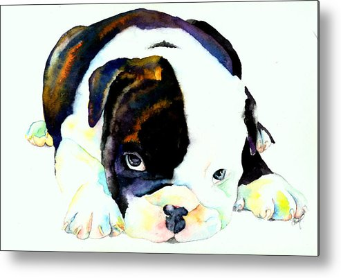 Puppy Metal Print featuring the painting Bulldog Puppy by Christy Freeman Stark