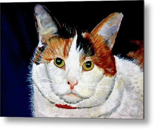 Cat Metal Print featuring the painting Buttons by Stan Hamilton
