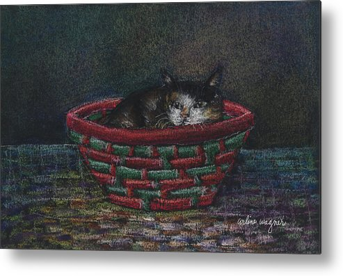 Cat Metal Print featuring the pastel Cat In A Basket by Arline Wagner