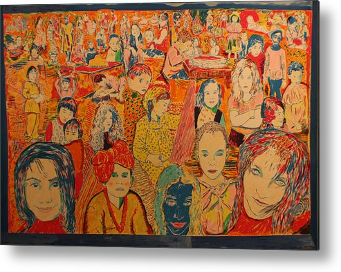 Metal Print featuring the painting Children of the world by Biagio Civale