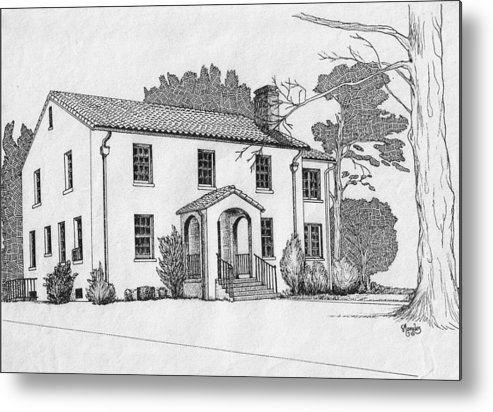Drawing - Pen And Ink Metal Print featuring the drawing Colonel Quarters 2 - Fort Benning GA by Marco Morales