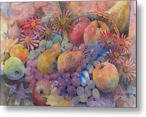 Cornucopia Metal Print featuring the painting Cornucopia Of Fruit by Arline Wagner