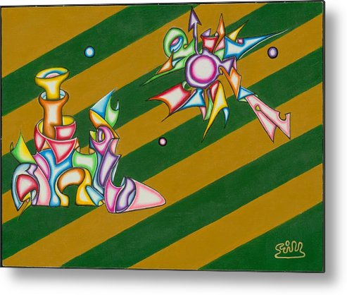 Fantasy Metal Print featuring the painting Cosmic Steamship by      Gillustrator