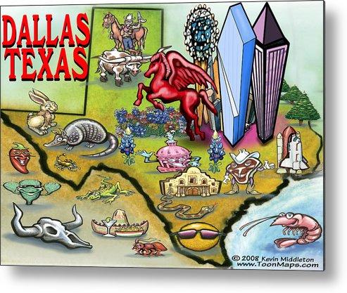 Dallas Metal Print featuring the digital art Dallas Texas Cartoon Map by Kevin Middleton