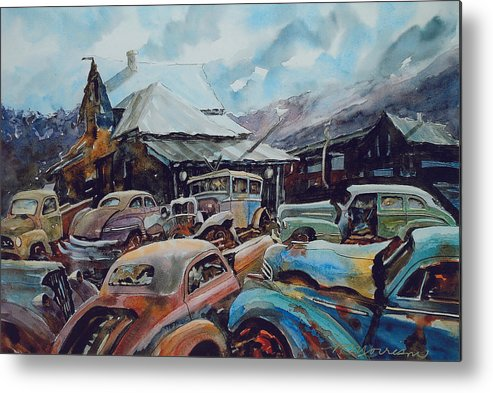 Cars Metal Print featuring the painting Derelicts at Hillsboro by Ron Morrison