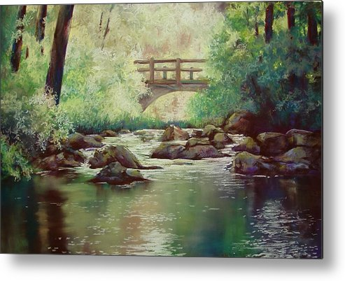 Landscape Metal Print featuring the pastel Early Morning at Gulpha Gorge by Marlene Gremillion