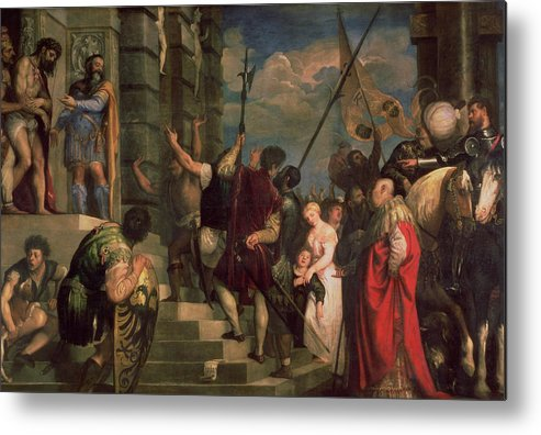 Titian Metal Print featuring the painting Ecce Homo, 1543 by Titian