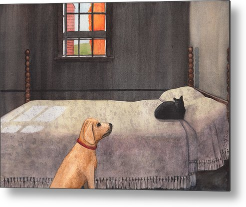 Dog Metal Print featuring the painting Effing CAT by Catherine G McElroy