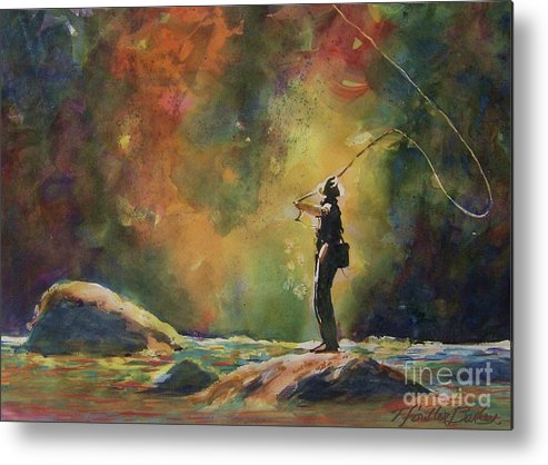 Fly Fishing Metal Print featuring the painting Evening Cast IIi by Therese Fowler-Bailey