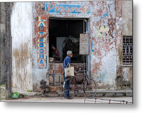 Camaguey; Cuba; Havanna; Habana; Kuba; Pizzeria Metal Print featuring the photograph Ex-pizzeria In Camaguey by Marie Schleich